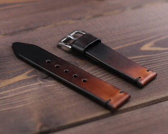 7b03462a7c6 Handmade leather watch strap vegetable tanned hand gradient dyed. Watch  strap 16