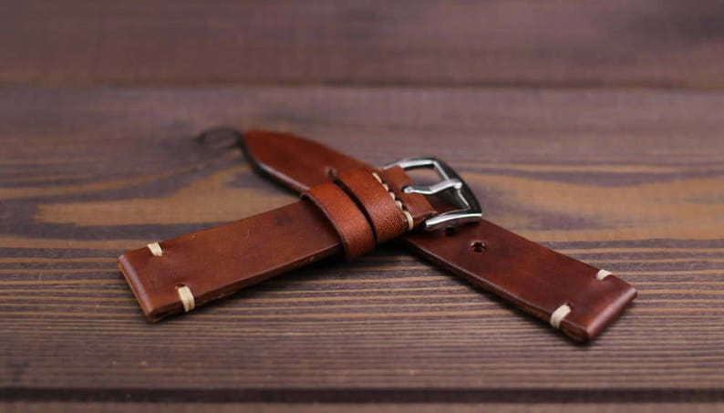 90a258fb5f76 Leather watch strap vintage style 16mm 17mm 18mm 19mm