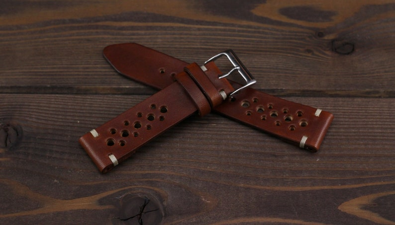 Rally Watch Strap Cognac Brown Color Made Of High Quality Etsy