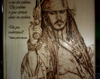 "Jack Sparrow Pyrography - Basswood Wood Burning Art - 13.5"" x 10.5"""