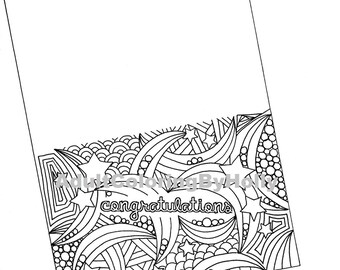 Coloring Page, Printable Instant download,  Congratulations Card with FREE matching envelope.