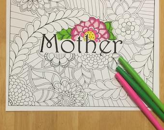 Malvorlagen, Mutter Färbung Seite Digital Download