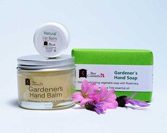 Gardener's Gift, gardener's hand  balm, a cleansing hand soap and a beeswax lip balm.