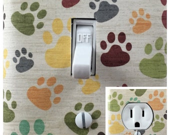 Black /& White Dog Cat Paws Decor Outlet Wall Plate Cover