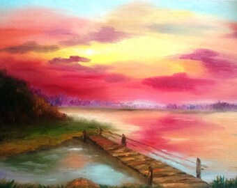 Red sunset painting, pink sunset paintin, best fine art, best oil paintings, textured art canvas, small oil painting
