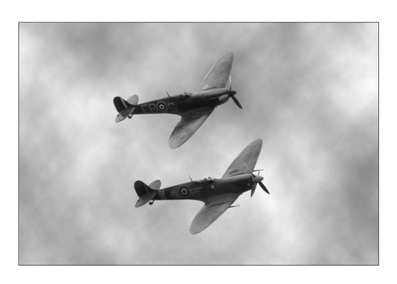 Spitfire fine art photo - mounted plane print - 14 x 11 inch mount -  spitfire - WWII plane photograph - vintage aircraft - spitfires flying