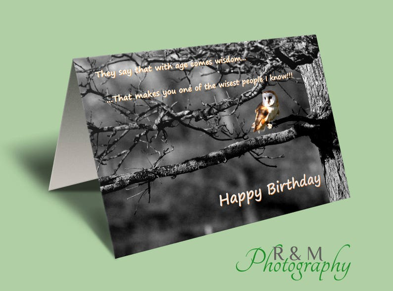 Happy Birthday Greeting Card Funny Saying Wise Old Owl Personalised Card Card For Birthday Funny Congrats Card Bday Card