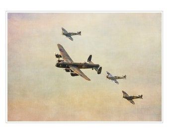 spitfire - lancaster - planes - WW2 - fathers day gift - wwII plane photograph - RAF - wall art - spitfires - 14 x 11 inch mount