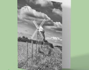Windmill Greeting Card - halnaker - windmill - photo greeting card - windmill blank card - any occasion card - greetings card
