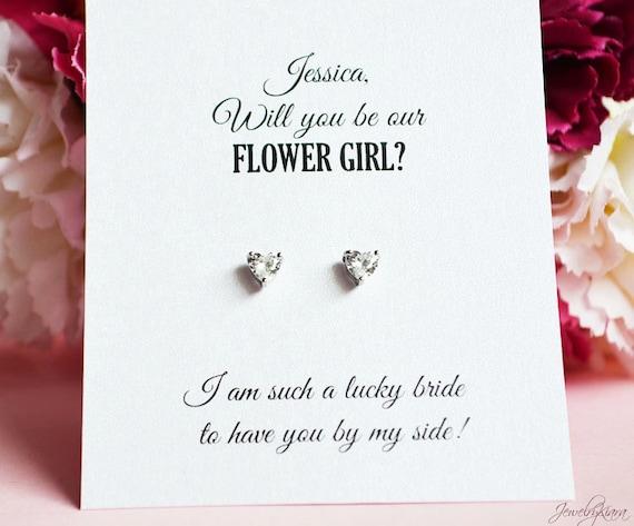 Veux-tu être ma demoiselle d/'honneur Demoiselle d/'honneur Argent Clous D/'oreilles! Fleur Fille