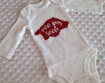 Baby Girl Arkansas Razorback Bodysuit - Red Glitter Woo Pig Sooie Baby Girl Gift Outfit Shirt