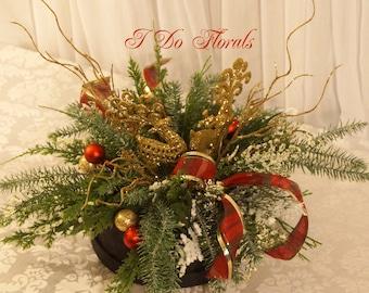 holiday centerpiece christmas centerpiece holiday table decoration holiday decoration christmas wedding centerpiece christmas tabletop - Floral Table Decorations For Christmas