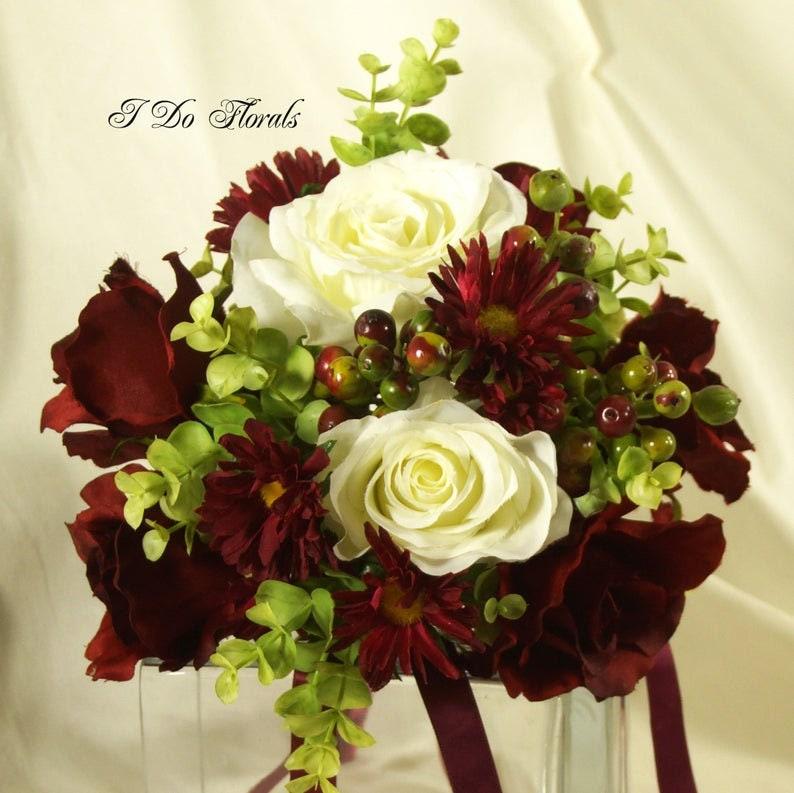 Rose Brides Bouquet Christmas Bridal Bouquet Keepsake Bouquet Burgundy and White Bridal Bouquet