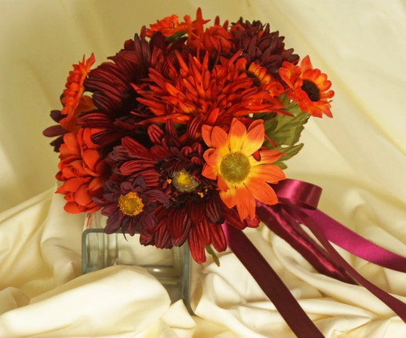 Fall Wedding Flowers List: Fall Colors Bridal Bouquet Orange Mums And Burgundy Gerbera