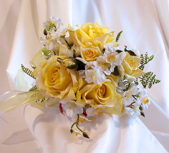 Silk Bridal Bouquet Rose Wedding Bouquet Yellow Rose And Etsy