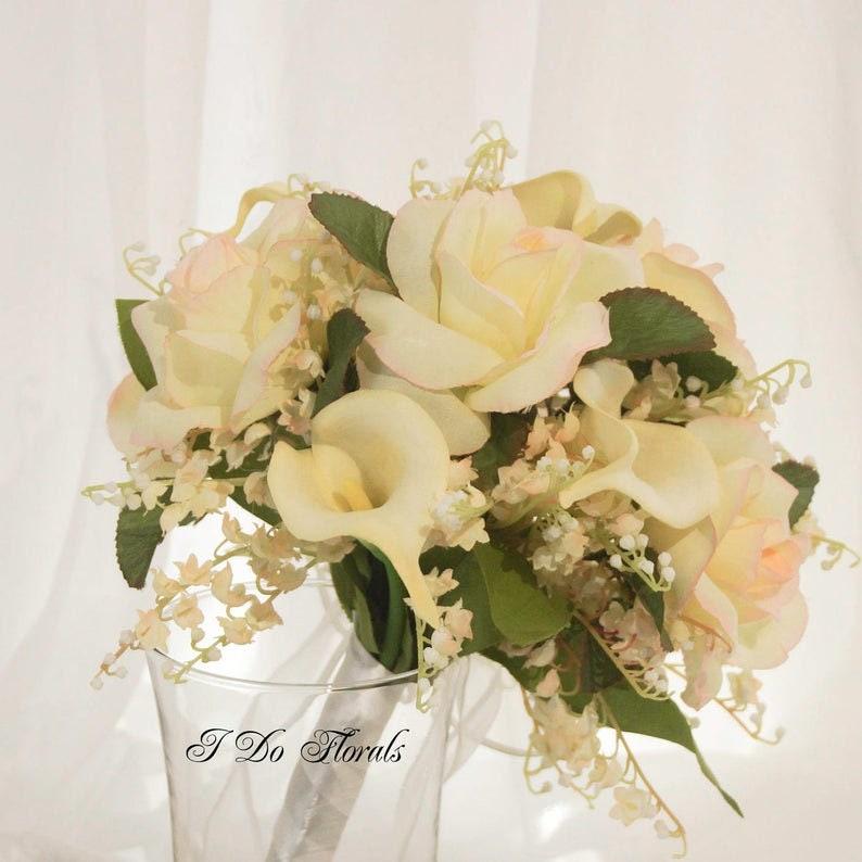 Brides Bouquet Yellow and Pink Bouquet Rose Bridal Bouquet Silk Calla Lily Bridal Bouquet Silk Wedding Bouquet