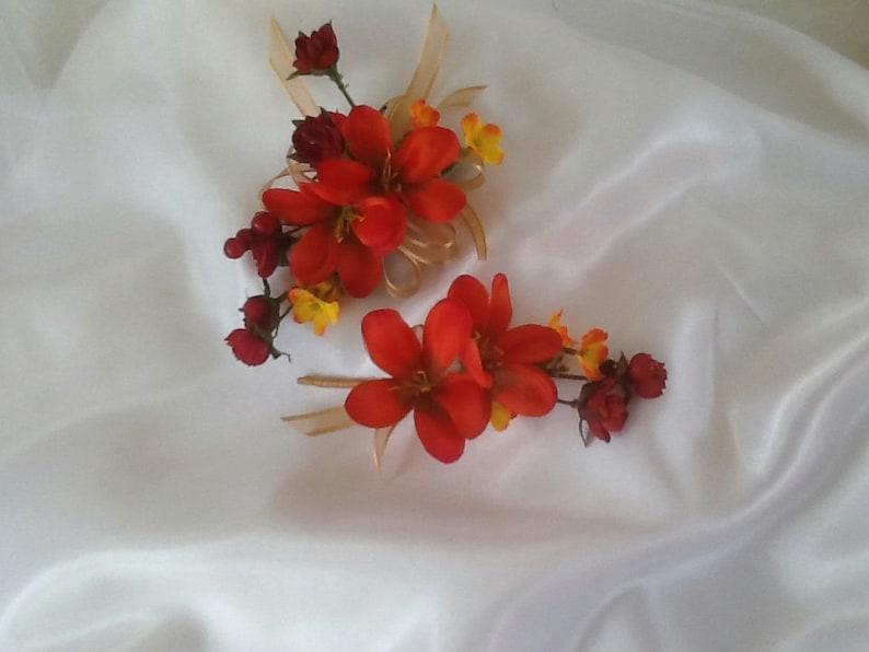 Silk Orange Magnolia Corsage And Boutonniere Magnolia And Etsy