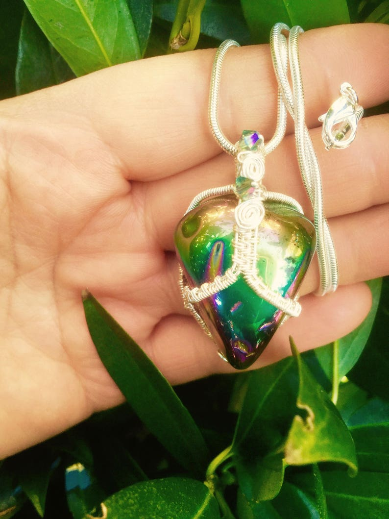 Wire Wrapped Flame Aura Crystal Quartz Rainbow Aura Quartz Necklace Titanium Aura Quartz Pendant Gemstone Jewelry |Silver Wire Wrapped