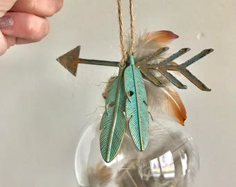 boho feather ornaments rusty metal arrow patina metal feathers with phesant feathers pow wow little cheif little indian partychristmas