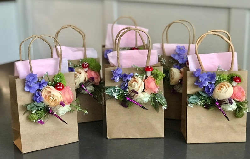 tea pary 6 Piece small :fairy Gift Bags shabby chic garden party Wedding Baby Shower,bridal shower Birthday Tribal Baby
