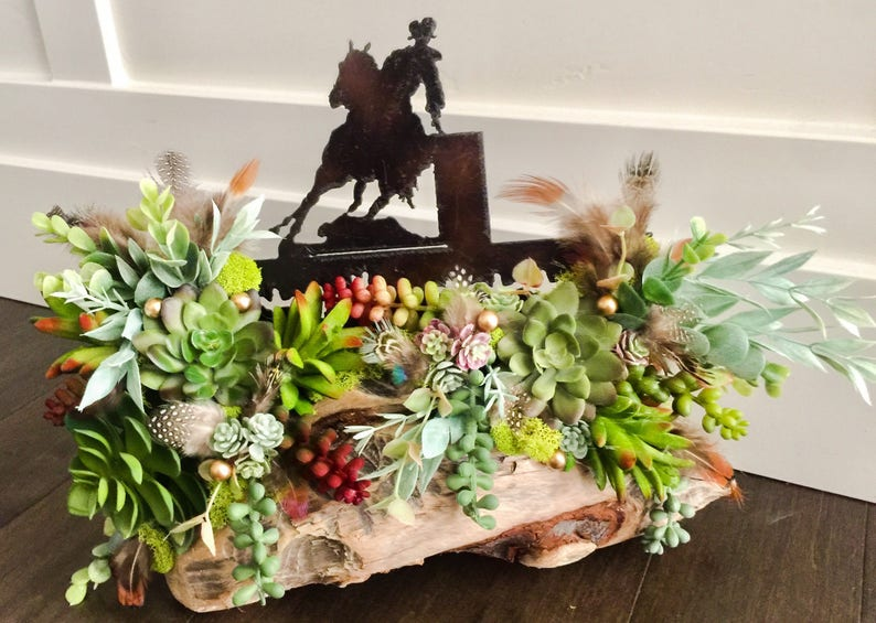 cowboy room decor horse farm party,w-15x12 rodeo wedding cowboy party succulents Cowboy Centerpiece on Bever Chewed driftwood Wood