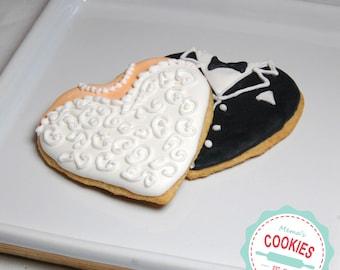 Bride and Groom Heart Cookies Item #1006