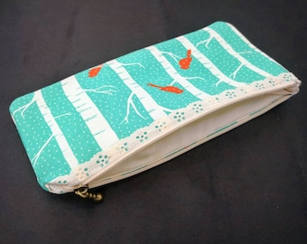coloured pencil case - fabric purse - fabric pencil case - make up purse with birds - nature inspired purse - coloured purse for school