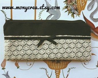 "Precious pouch sewn with lace and satin ribbon ""Charme"" - pizzo crema black make up pencil case bridesmaid gift black"