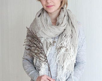 Natural linen scarf - Linen shawl - Handmade wraps - Taupe scarf - Oversized linen scarf