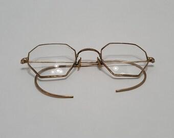9c366ae71b7e Vintage Gold Tone Wire Rim Glasses Octagon Lenses