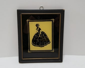 Vintage Convex Glass Silhouette Framed Prints Victorian Set Of Two 1942 Latest Fashion Antiques Decorative Arts