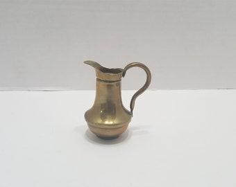 Scottish Thistle Design English Brass Miniature Jug