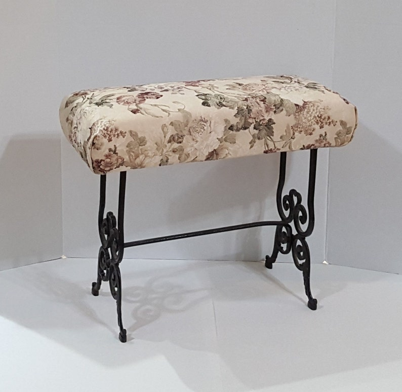 Cool Antique Victorian Vanity Bench Cast Iron Stool Floral Brocade Upholstery Dailytribune Chair Design For Home Dailytribuneorg