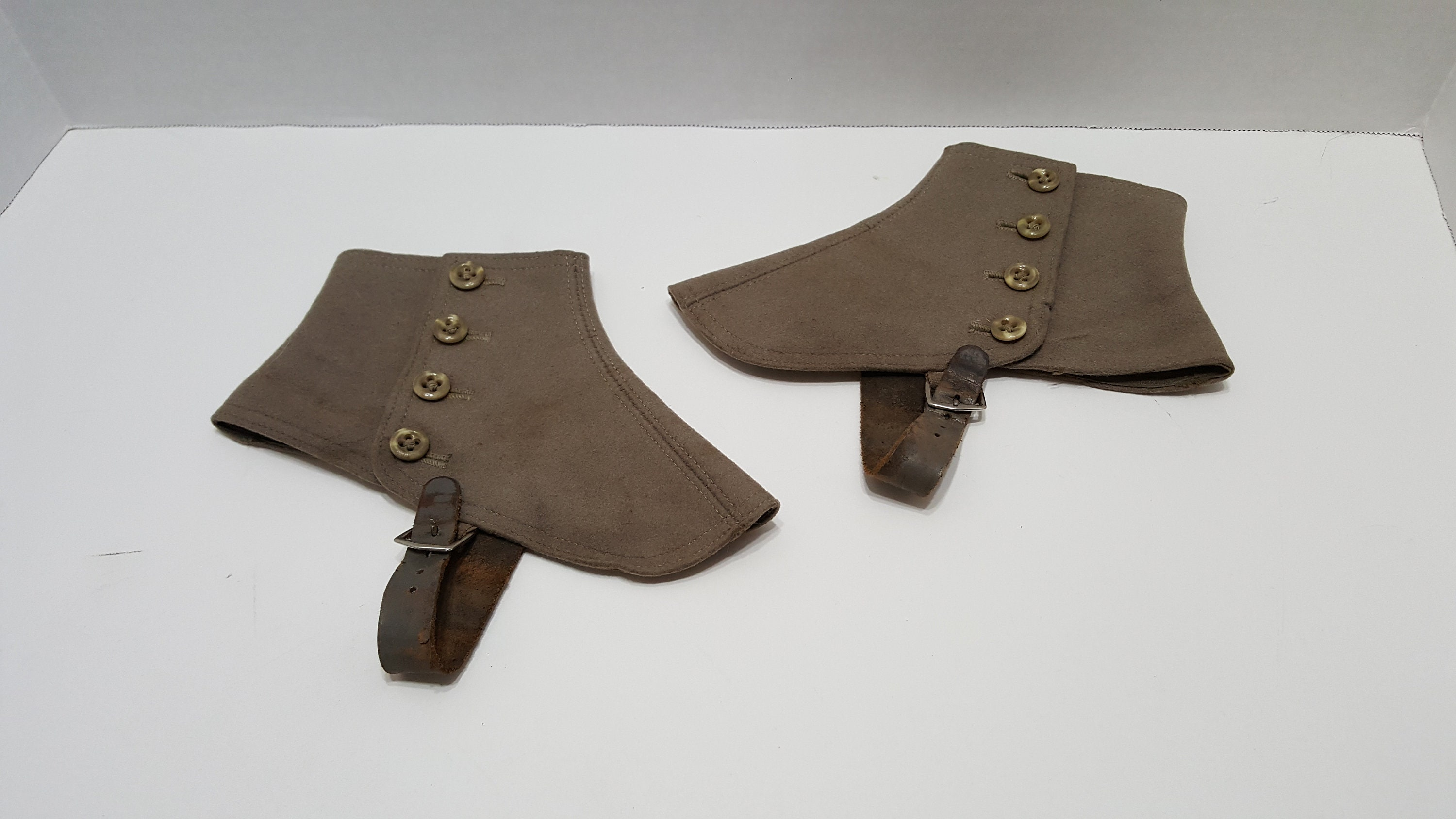 Spats, Gaiters, Puttees – Vintage Shoes Covers Antique Boot Spats Wool With Leather Straps  Buttons $26.50 AT vintagedancer.com