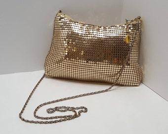 Vintage Gold Tone Metal Mesh Ladies Purse Zipper Closure Long Strap