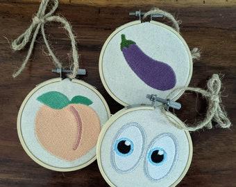 Embroidered emoji ornaments