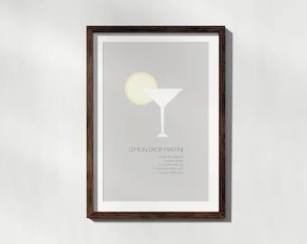 Lemon Drop Martini Minimalist Poster Art