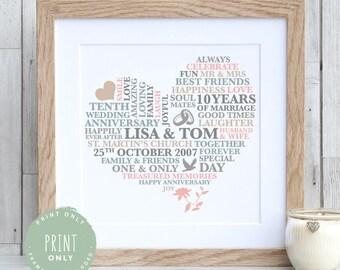 10 YEAR ANNIVERSARY GIFT - Wedding Anniversary Gift   Tenth Anniversary Personalised Print   Tin Anniversary   10th Anniversary gift for her