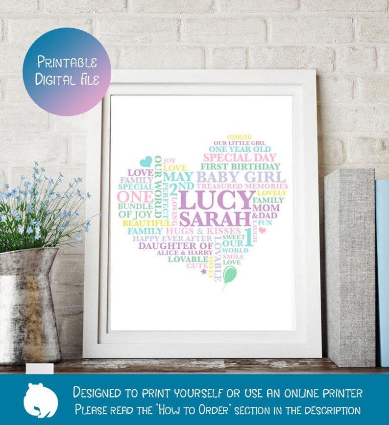 Printable File Baby Girl Birthday Print Word Art 1st