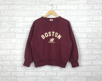 e12a1b7a66656 Vintage 90's NEW BALANCE Sweatshirt Jumper big boston spell out Printed Hip  Hop swag maroon colour large size (C7)