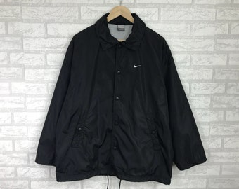 Rare!!NIKE coach jacket small swoosh logo embroidery Jumper hip hop swag  black medium size (C3) 6301982d8