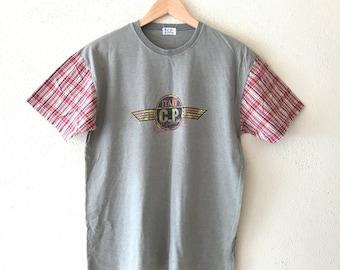 Vintage 90's CP COMPANY tshirt Big logo printed navy green colour made in Japan