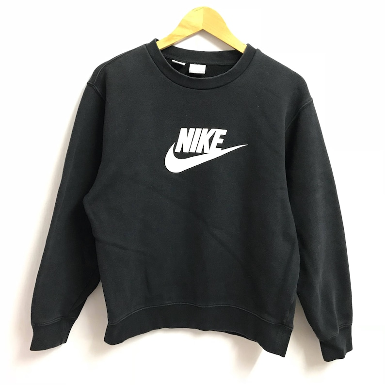 7a2c03f2fbfe7 Rare!! NIKE swoosh Sweatshirt big logo Printed Pullover Jumper navy blue  Colour large size(B7)