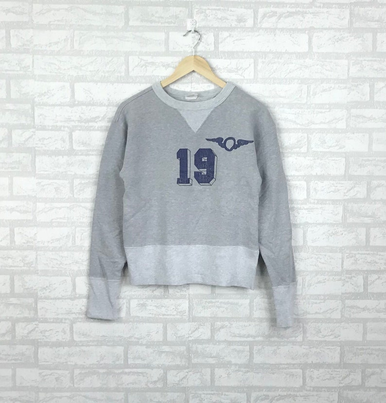 Rare!!!Vintage 90's CHAMPION Sweatshirt Jumper small Logo embroidery 19  Spell out hip hop swag grey colour (C7)