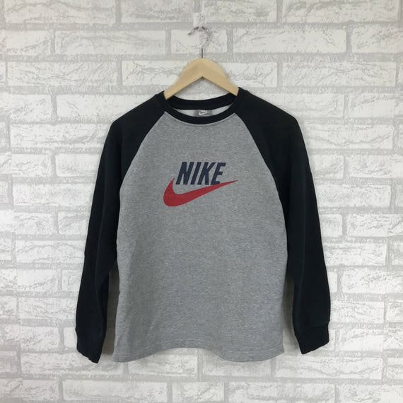 9fe328a896d7c Rare!!NIKE Sweatshirt Big swoosh logo Spellout Printed Pullover Jumper hip  hop swag navy blue and grey Colour large kids size(C1)