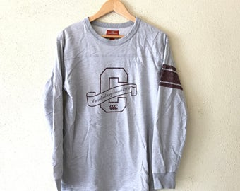 Rare!!Vintage 90's CANTERBURY New zealand Sweatshirt Big logo Spell out hip hop swag grey medium size (SW4)
