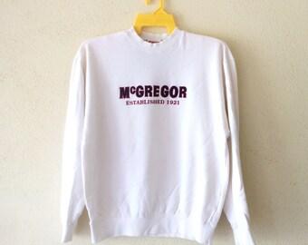 Rare!!Vintage 90's MC GREGOR Sweatshirt Big Logo EmbroideryPullover Jumper White Colour Large size