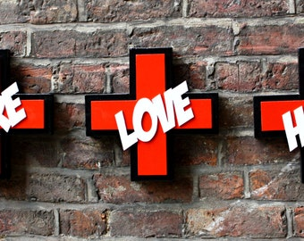 jus needs . . . practice - tryptic CARE LOVE HOPE - wooden wall art - typography