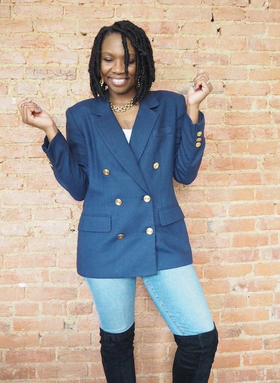 1990s Navy Blazer - Size 12 - Vintage