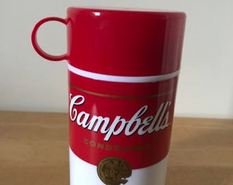 "Vintage Campbell's Soup Thermal Flask* 11.5 oz. 7"" T** Soup-Can-Tainer* 1998*"